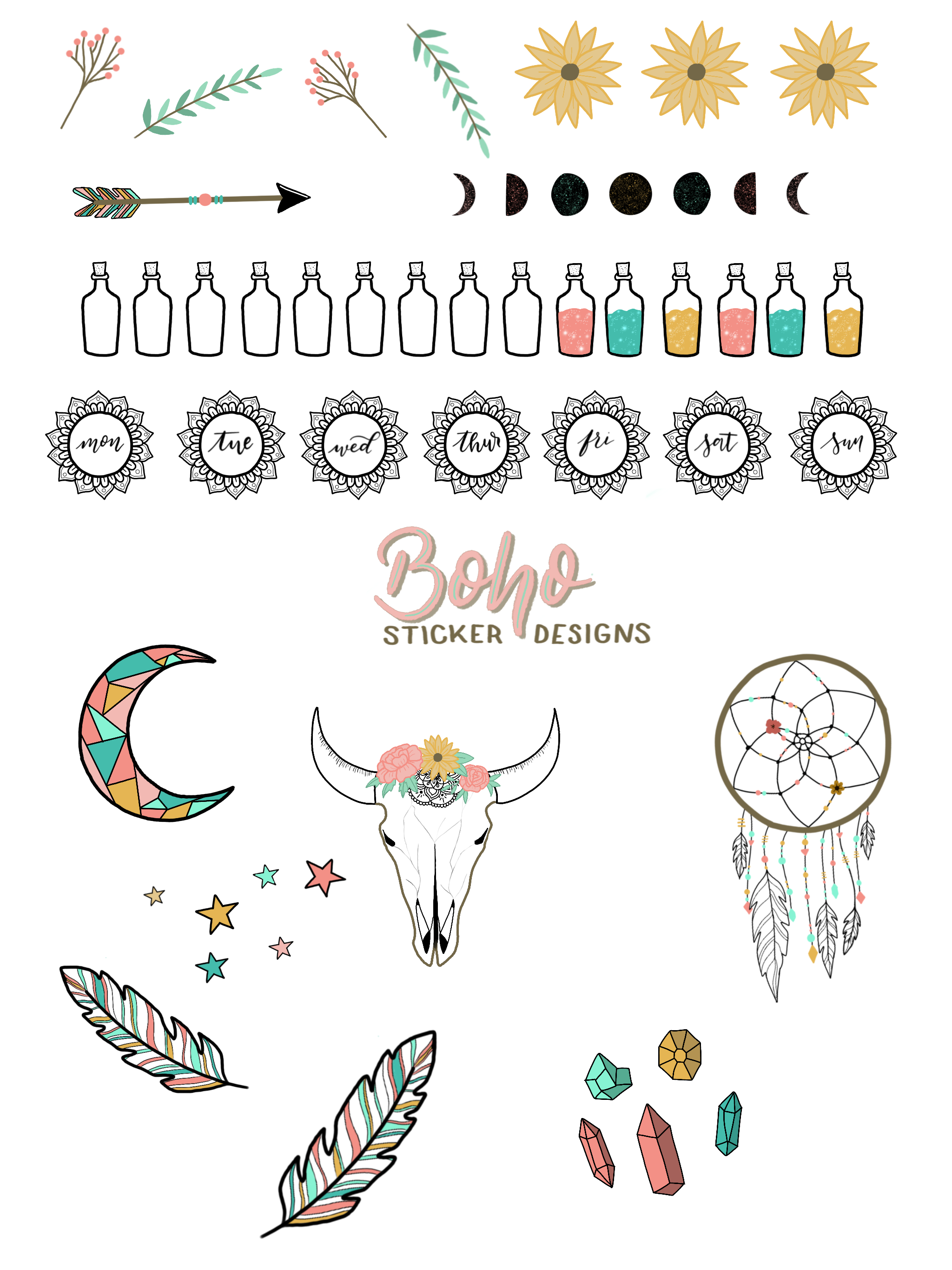 free printable boho doodle stickers for your bullet journal the